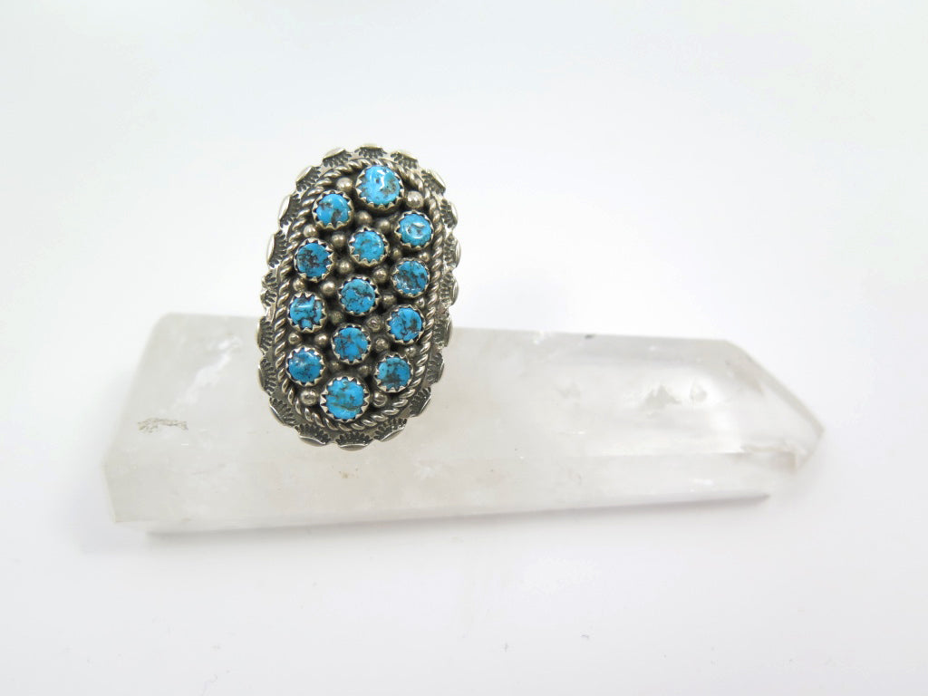 Kingman Turquoise Petit Oval Cluster Ring - Wanderlust + Wildhearts