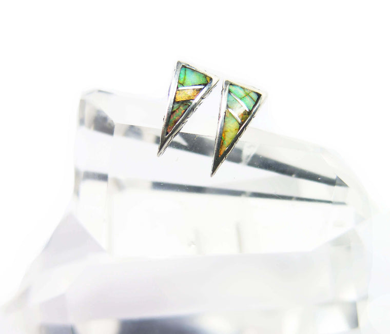 Inlay Vee Post Earrings