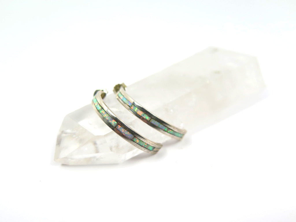 """Nel. J"" Opal Inlay Hoop Earrings - Wanderlust + Wildhearts"