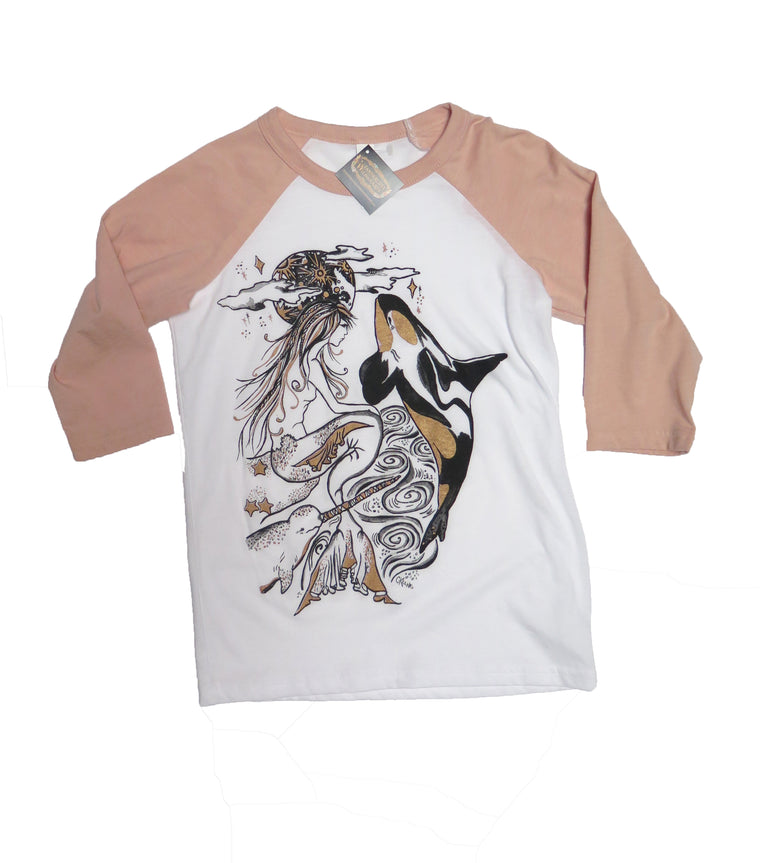 Mermaid and Orca Youth Baseball Tee - Wanderlust + Wildhearts