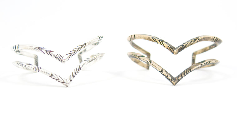 Carved Pinnacle Vee Cuff - Wanderlust + Wildhearts