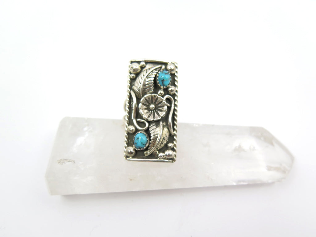 Turquoise Floral Shield Ring - Wanderlust + Wildhearts
