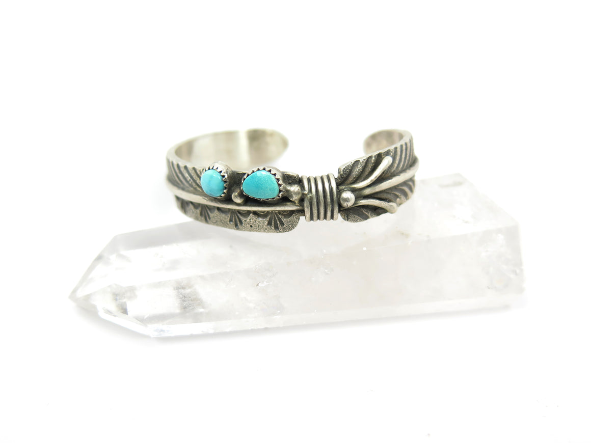 """Vandever"" Turquoise Feather Cuff - Wanderlust + Wildhearts"