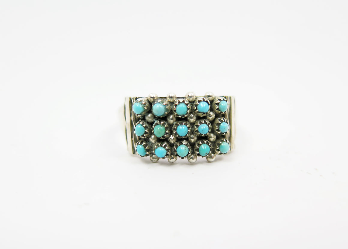 Snake Eyes Turquoise Ring- 3 Rows - Wanderlust + Wildhearts
