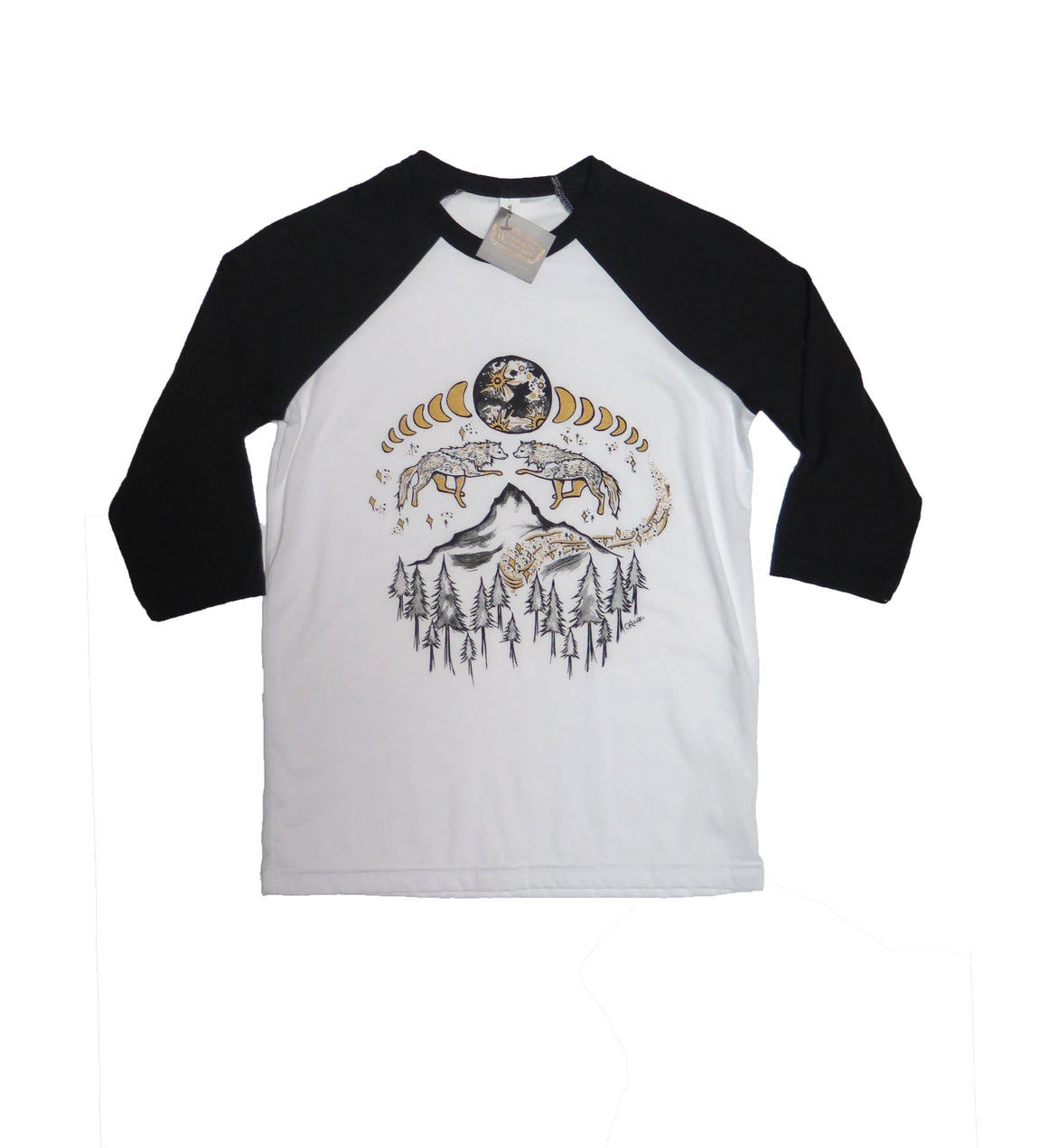 Lunar Cycle Timberline Wolves Youth Baseball Tee - Wanderlust + Wildhearts