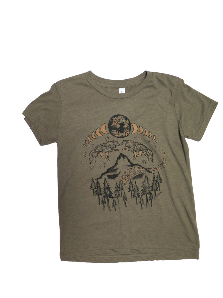 Lunar Cycle Timberline Wolves Youth Tee - Wanderlust + Wildhearts