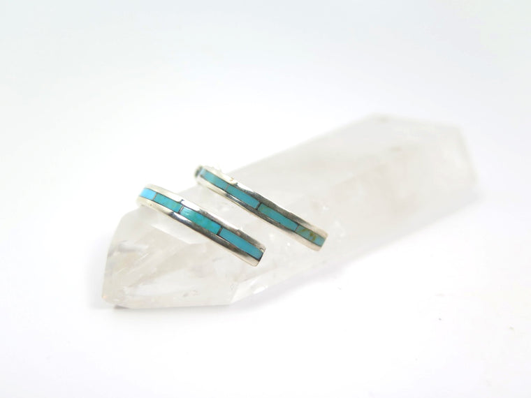 """Nel. J"" Channel Inlay Hoop Earrings - Wanderlust + Wildhearts"