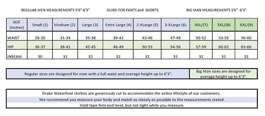 Men's Pant Sizing Chart