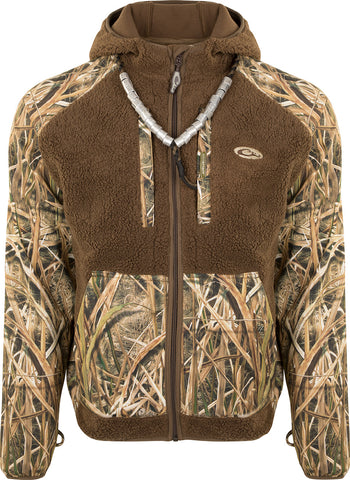 MST Sherpa Fleece Hybrid Liner Full Zip with Hood - Mossy Oak Blades