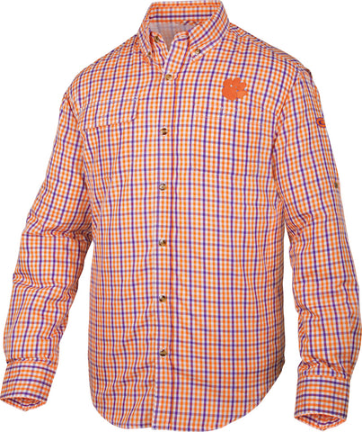 Clemson Gingham Plaid Wingshooter's Shirt Long Sleeve