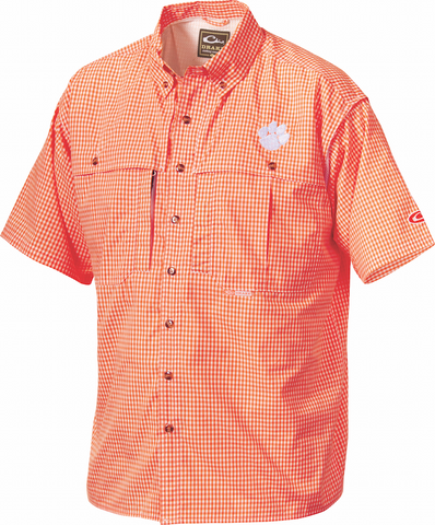 Clemson Plaid Wingshooter's Shirt Short Sleeve