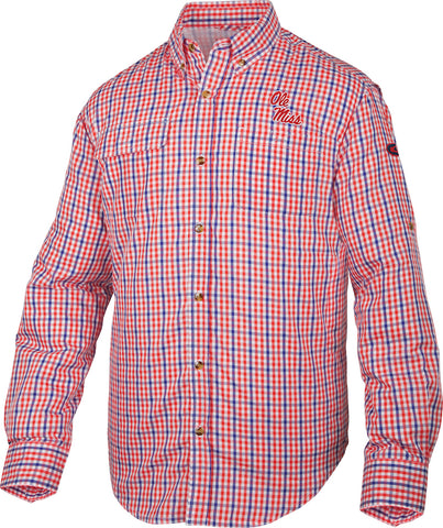 Ole Miss Gingham Plaid Wingshooter's Shirt Long Sleeve