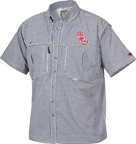 Ole Miss Plaid Wingshooter's Shirt Short Sleeve