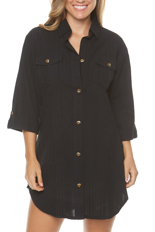 Dotti Cabana Life shirt dress cover up  Natural wood button front Rayon Hand wash Product Number: 11035-black