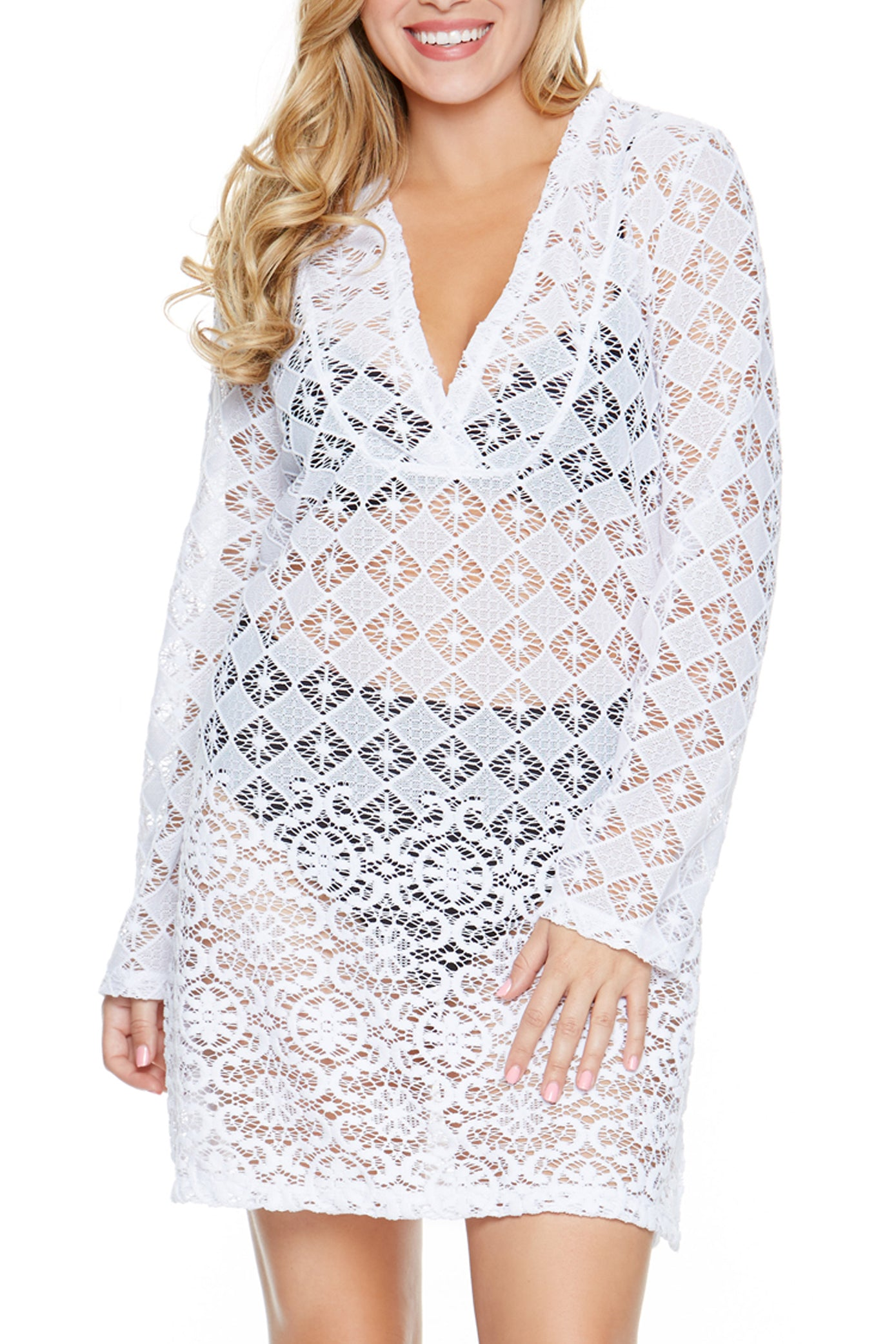 V-neckline Allover sheer crochet Hits at thigh Polyester Hand wash