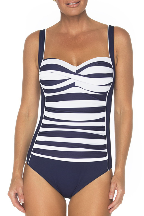 Ruched front with print Solid side panels with delicate piping detail Soft cup Shelf-bra for added support Power netting for tummy control Suitable for C-D cup size Fully lined 82% polyamide 18% elastane navy and white nautical print
