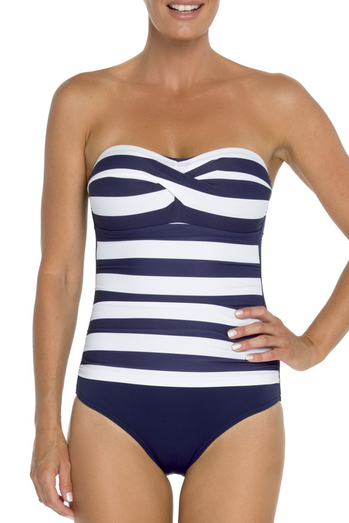 Removable and adjustable straps Molded cup with silicon band for bust support Shelf-bra for added support Power netting for tummy control Suitable for B-DD cup size Fully lined 82% polyamide 18% elastane navy and white nautical print