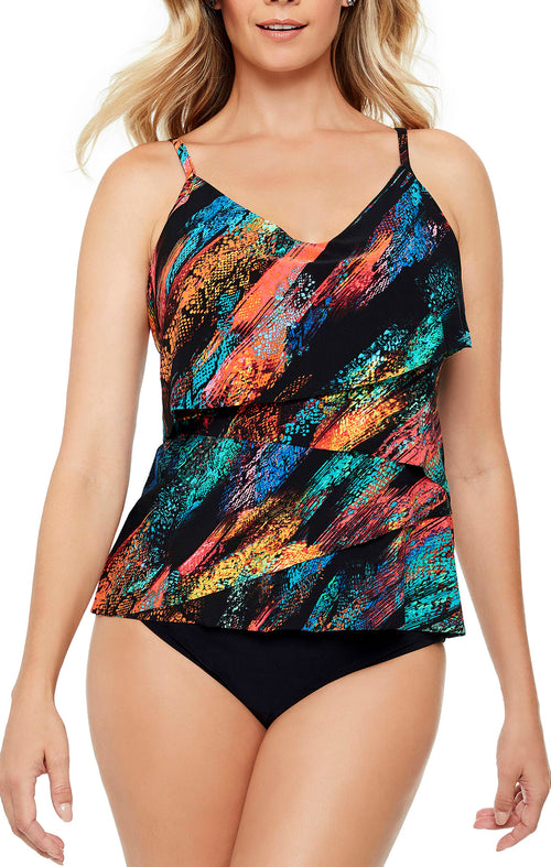 Magic Suit, Chloe fit, triple tier tankini top Adjustable straps Soft cups  Top and bottom sold separately