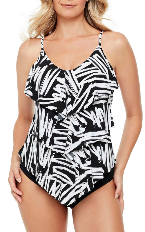 Triple tier tankini top  Adjustable straps  Soft cup inserts Bottom sold separately