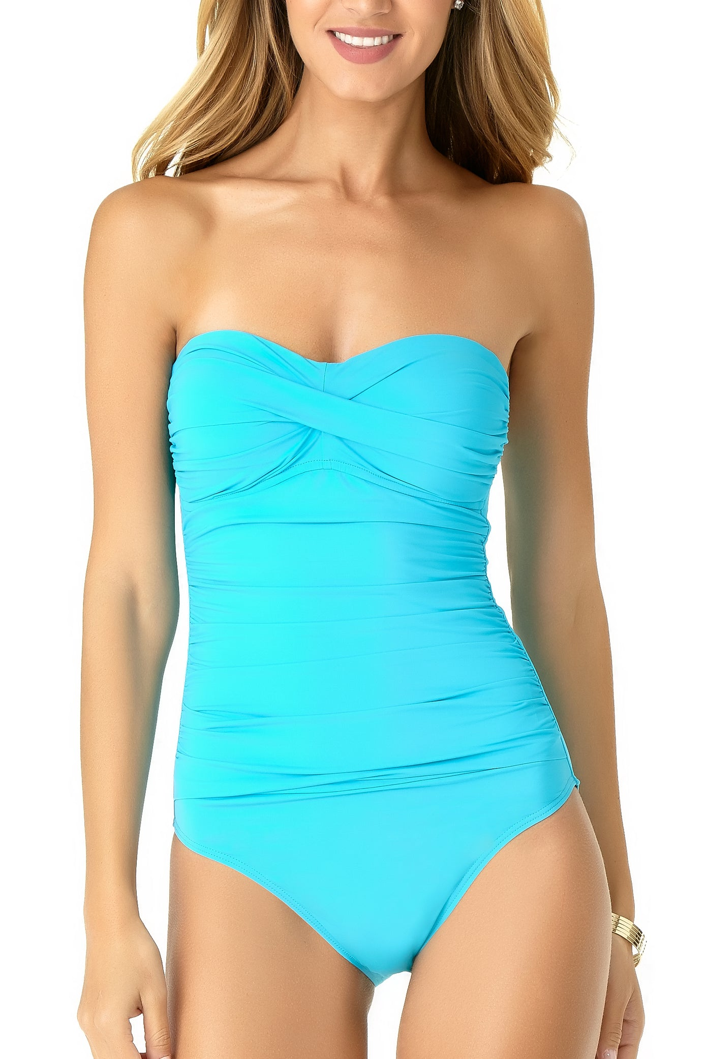 Fabric Content: 82% Nylon/ 18% Spandex Twist front Bandeau One Piece Higher leg cut Slightly shorter torso Front Shirred Details Slim fitting Adjustable and Removable straps Non Removable Cups Product Number: 19MO00501