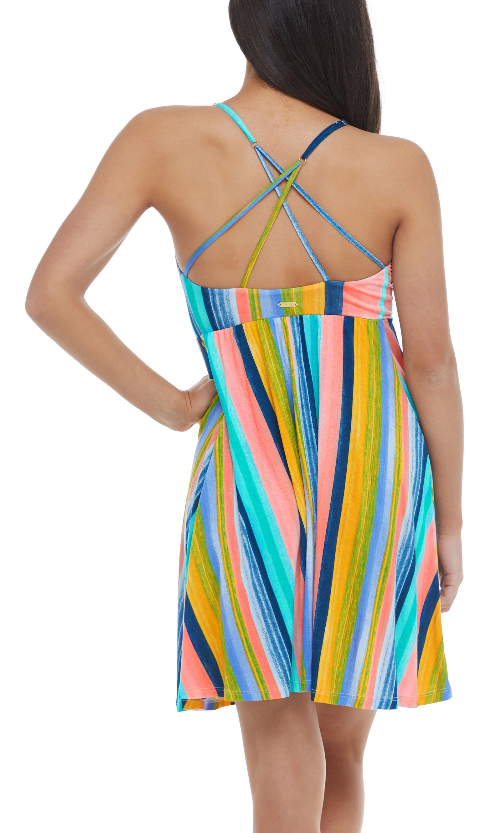 Swim cover-up dress Empire waist Adjustable spaghetti straps Back-strap detail Mid-thigh length Knit rayon material 80% nylon, 20% Spandex Product Number: 39-522621