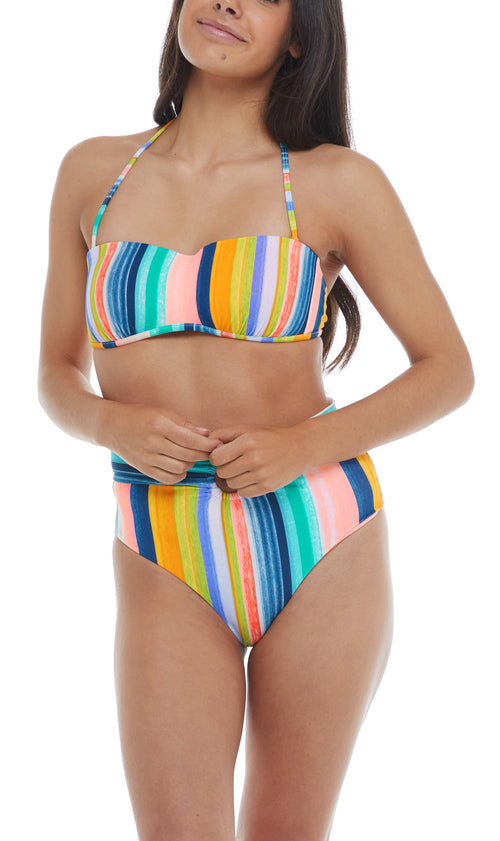 An eye-catching Cuban-inspired striped fabric puts the Crystal top in a league of its own. This bandeau-style piece is reinforced with sewn-in cups for a hint of support, as well as an adjustable tie back and removable straps for a look that adapts to your mood. Strapless bandeau bikini top Cut and sew cups Removable straps Adjustable tie back 80% nylon, 20% Spandex Product Number: 39-536110