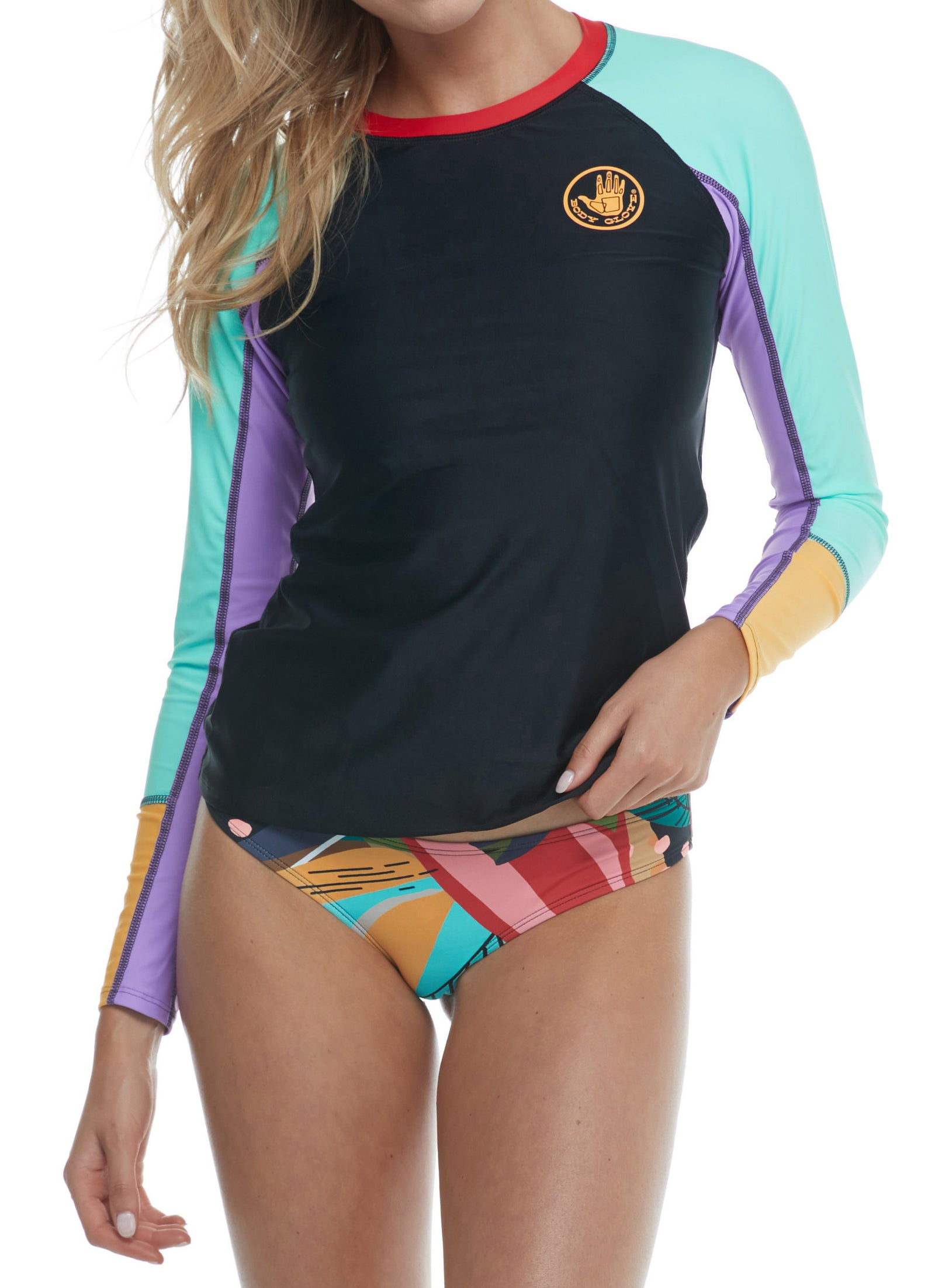 Hero Rashguard top; Rashguard ,UPF 50, long sleeves, crew neck, colorblock inserts ,flatlock seams