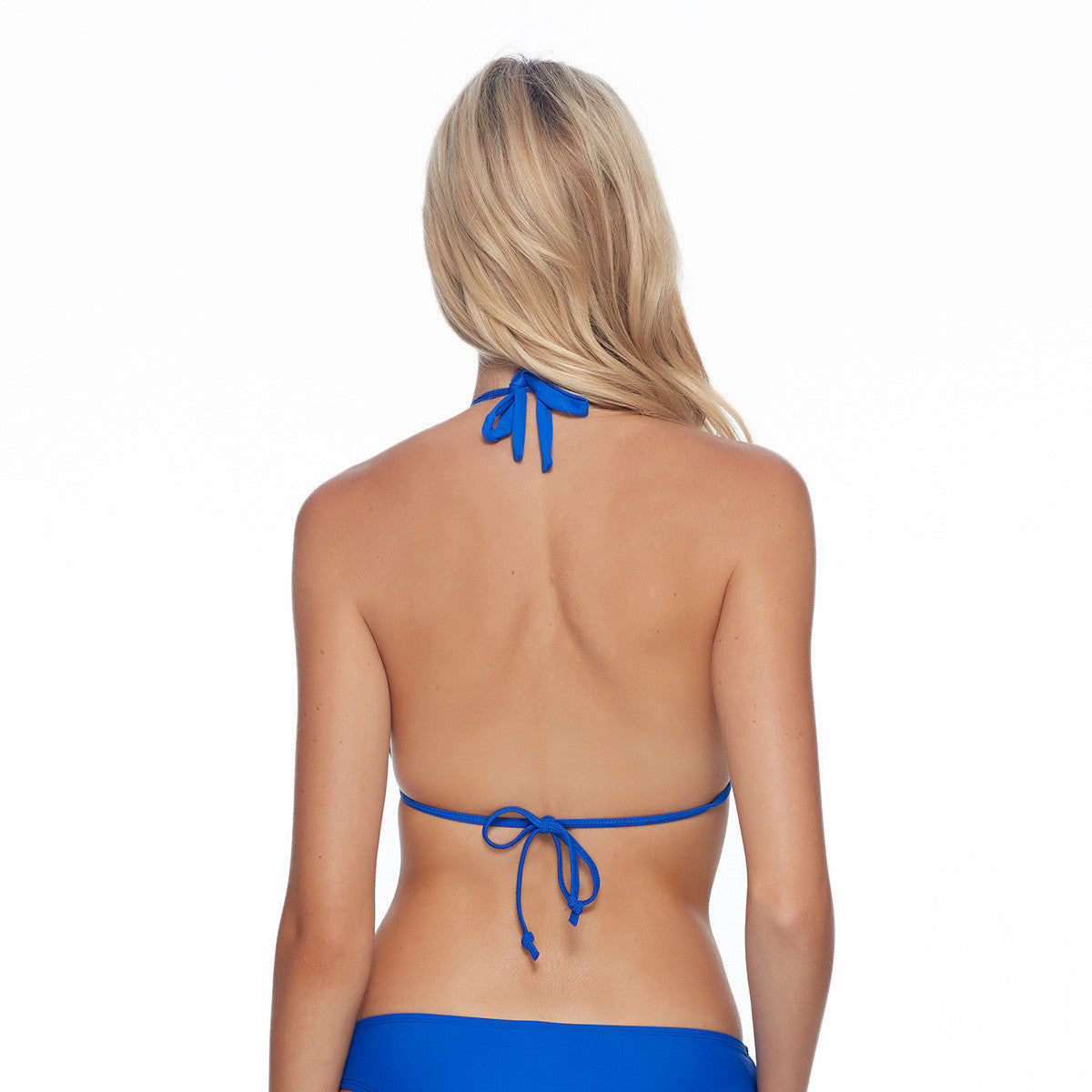 Body Glove Aida style Smoothies bikini top Triangle top Back tie closures Removable padding Lined Nylon/spandex Hand wash cold Top and bottom sold separately  blue