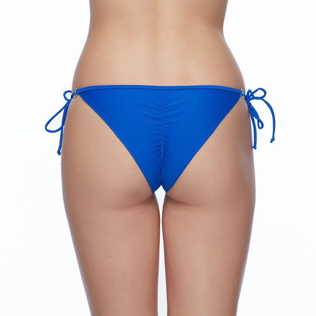 Body Glove Smoothies Brasilia bikini bottoms Side tie bikini bottoms Adjustable side ties with ring hardware Center back seam with ruching Fully lined Metal Body Glove heart logo badge at front hip Nylon/Spandex Hand wash cold Top and bottom sold separately  blue