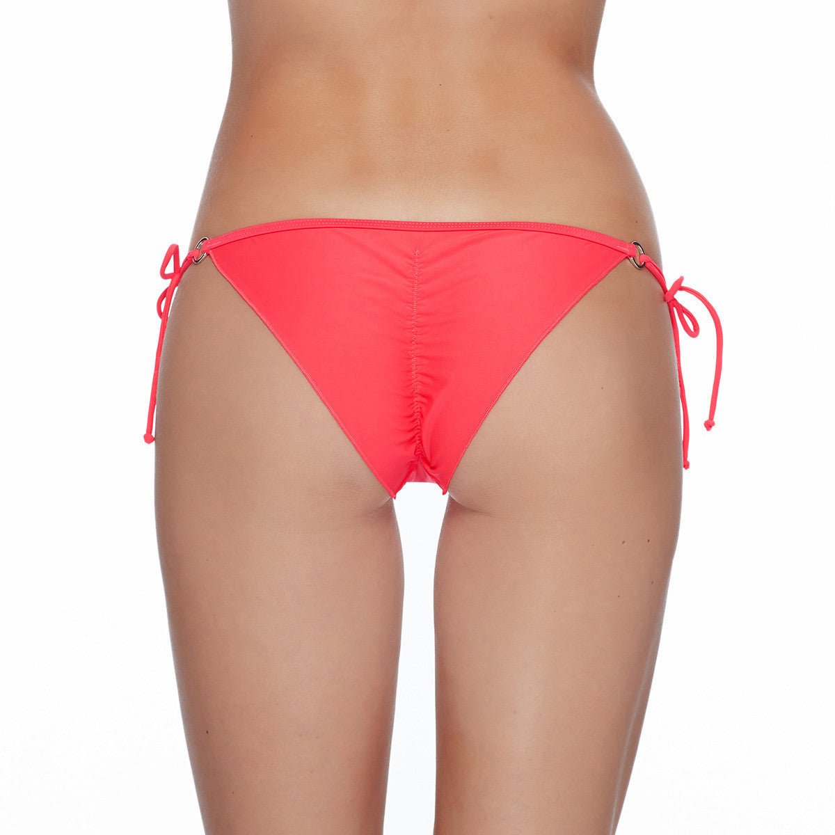 Body Glove Smoothies Brasilia bikini bottoms Side tie bikini bottoms Adjustable side ties with ring hardware Center back seam with ruching Fully lined Metal Body Glove heart logo badge at front hip Nylon/Spandex Hand wash cold Top and bottom sold separately pink