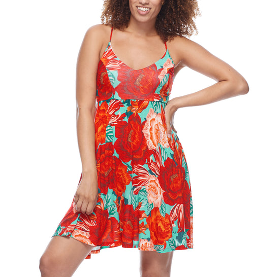 The Ivy dress is the perfect cover-up to wear on and off the beach. In our new Allure print, this style pairs perfectly with other pieces from the Spanish-inspired print collection or any of our Smoothies swim pieces in Sea Mist or True colors. Swim cover-up dress Empire waist Adjustable spaghetti straps Back-strap detail Mid-thigh length Knit rayon material 80% nylon, 20% Spandex Product Number: 39-522621