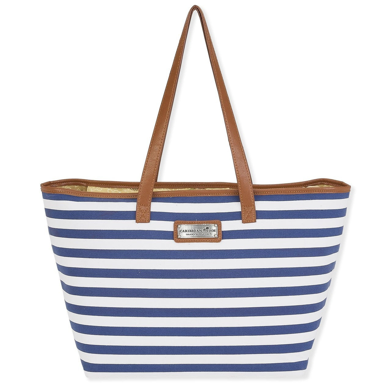 Faux Leather strapped tote bag  Zip top  Canvas material  navy and white stripes
