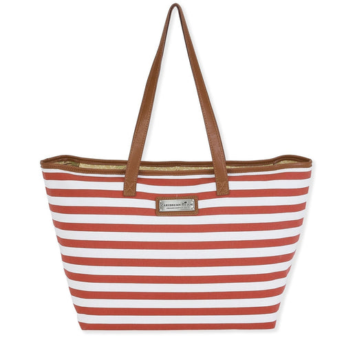 Faux Leather strapped tote bag  Zip top  Canvas material red and white stripes