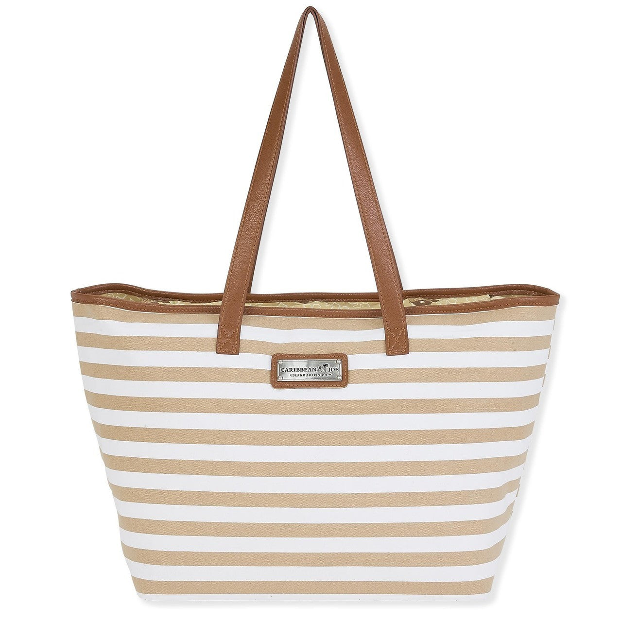 Faux Leather strapped tote bag  Zip top  Canvas material  natural and white stripes