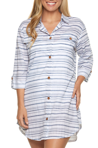 Tulum Stripe Shirt Dress