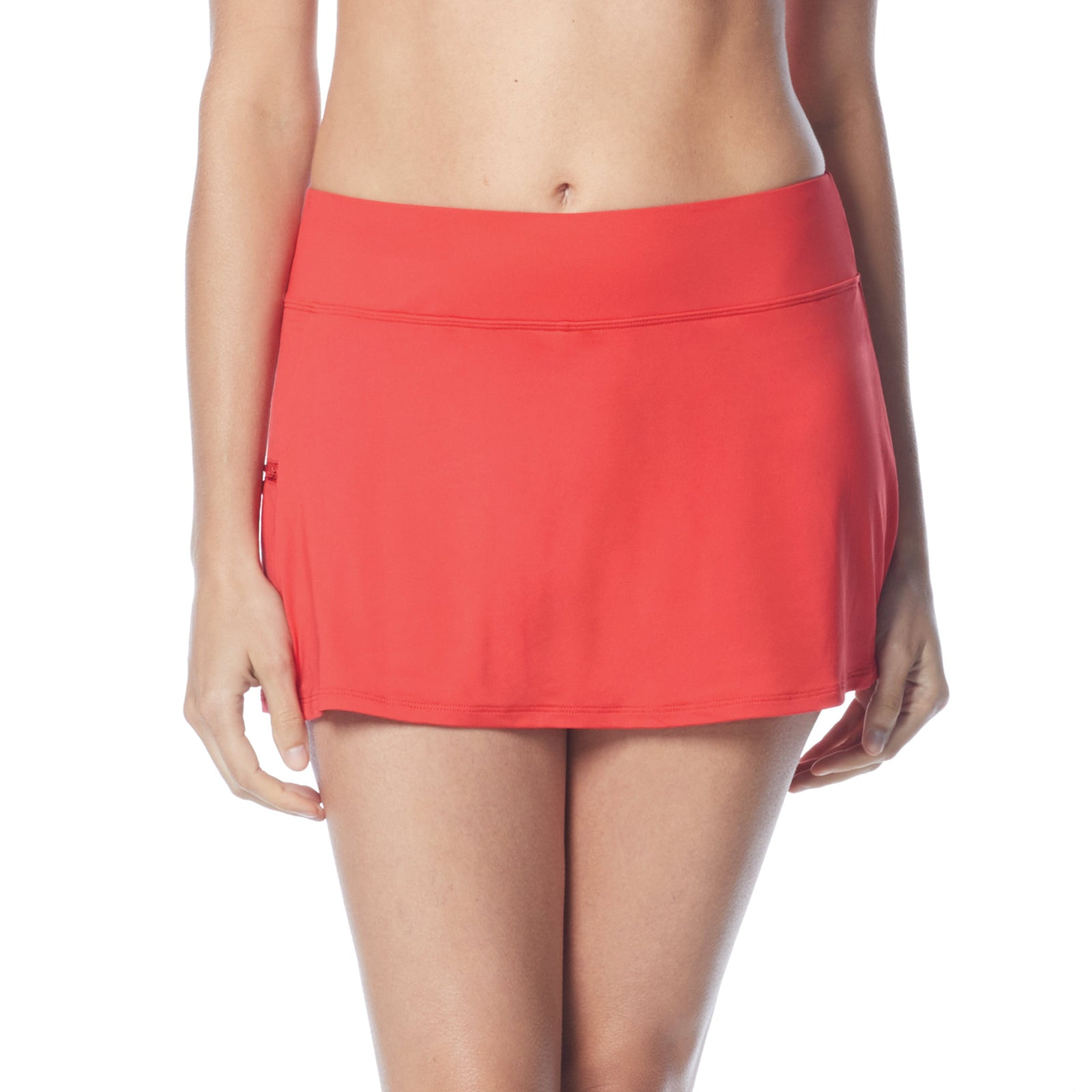 Swim Skort Boy Shorts Attached Underneath Full Coverage Zippered Pocke 50+ UPF 4 Way Stretch Soft Touch Comfort Fabric with Lycra® Chlorine Resistant Fabric Content: 85% Nylon/15% Xtra Life Lycra® Hand Wash Cold, Line Dry coral