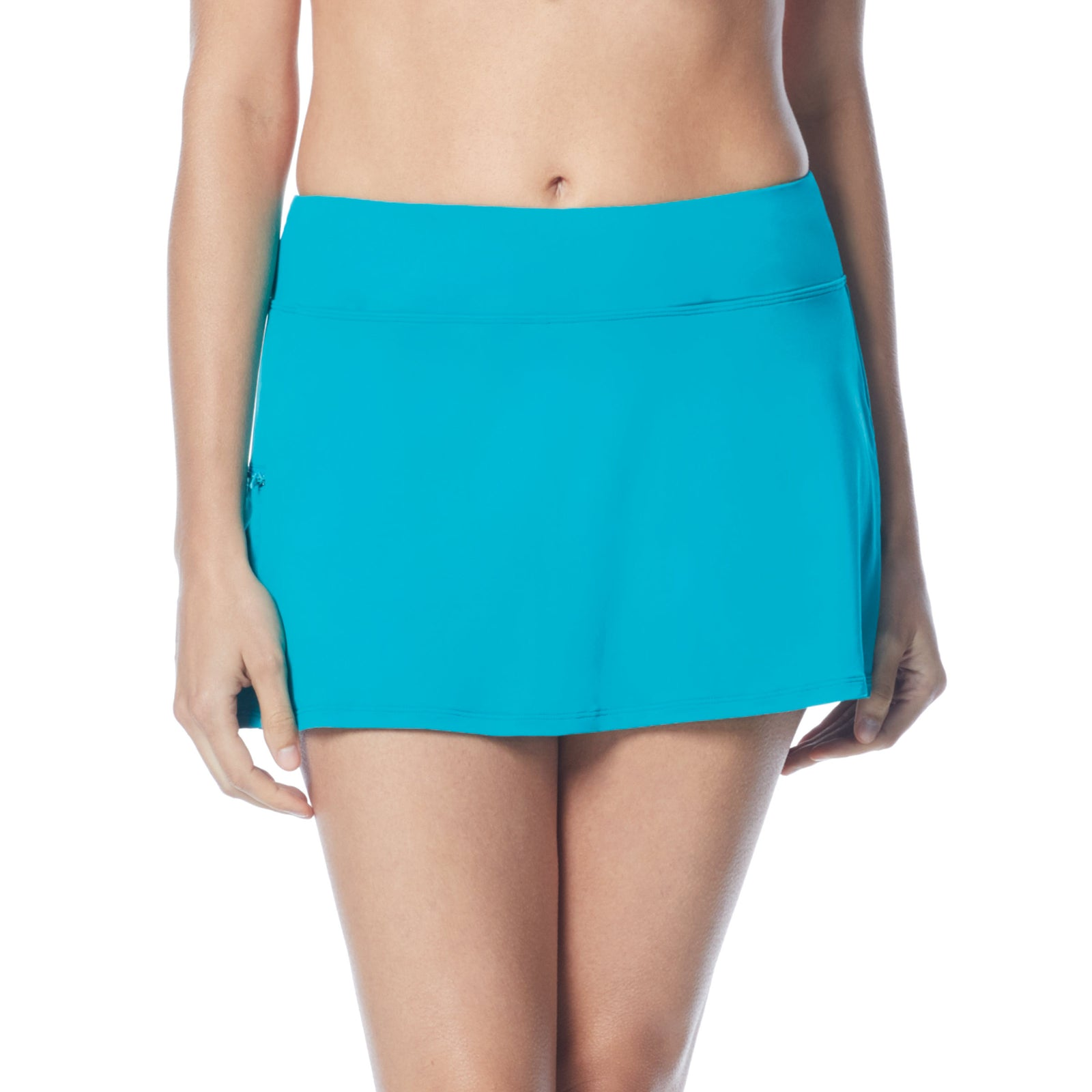 Swim Skort Boy Shorts Attached Underneath Full Coverage Zippered Pocke 50+ UPF 4 Way Stretch Soft Touch Comfort Fabric with Lycra® Chlorine Resistant Fabric Content: 85% Nylon/15% Xtra Life Lycra® Hand Wash Cold, Line Dry turquoise
