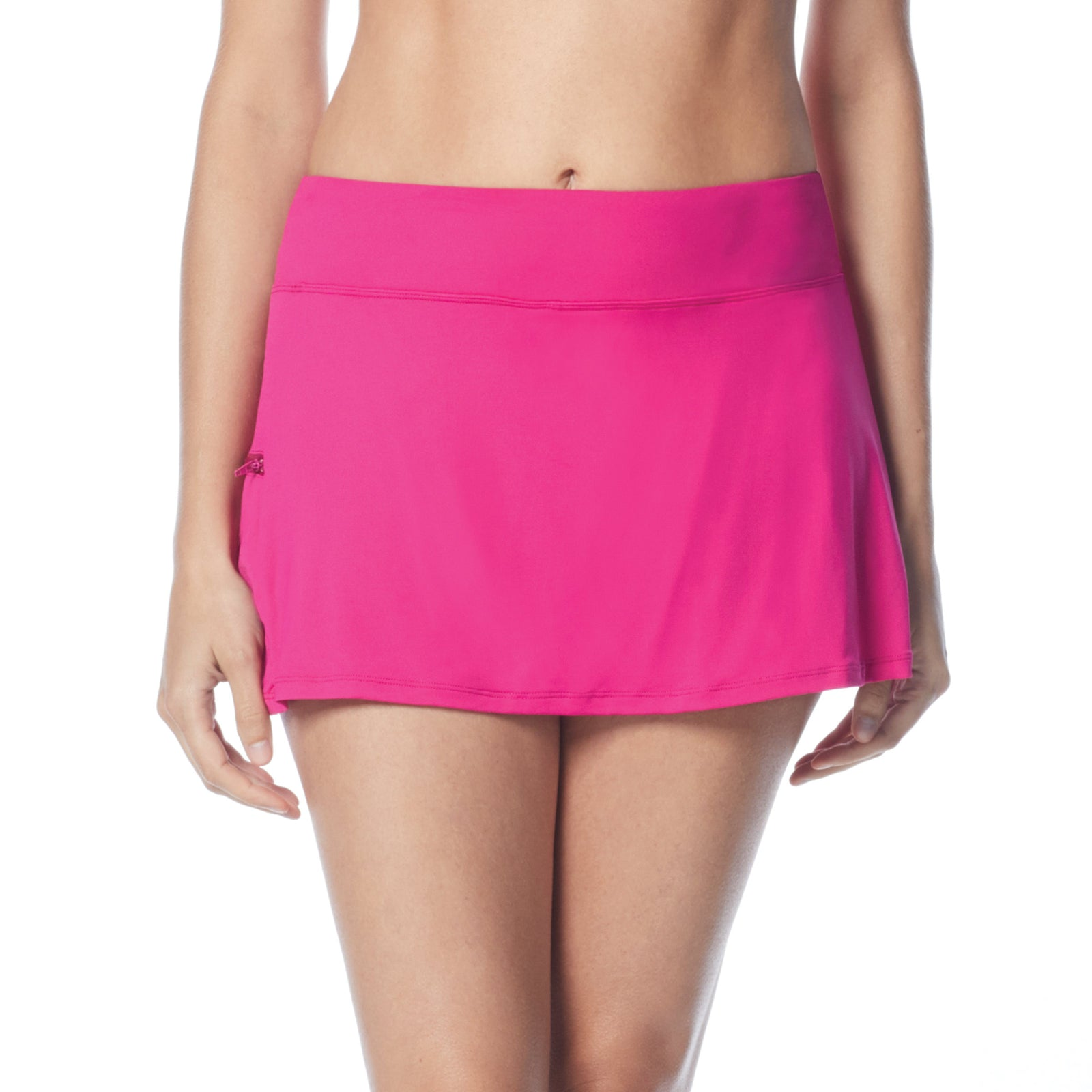 Swim Skort Boy Shorts Attached Underneath Full Coverage Zippered Pocke 50+ UPF 4 Way Stretch Soft Touch Comfort Fabric with Lycra® Chlorine Resistant Fabric Content: 85% Nylon/15% Xtra Life Lycra® Hand Wash Cold, Line Dry berry pink