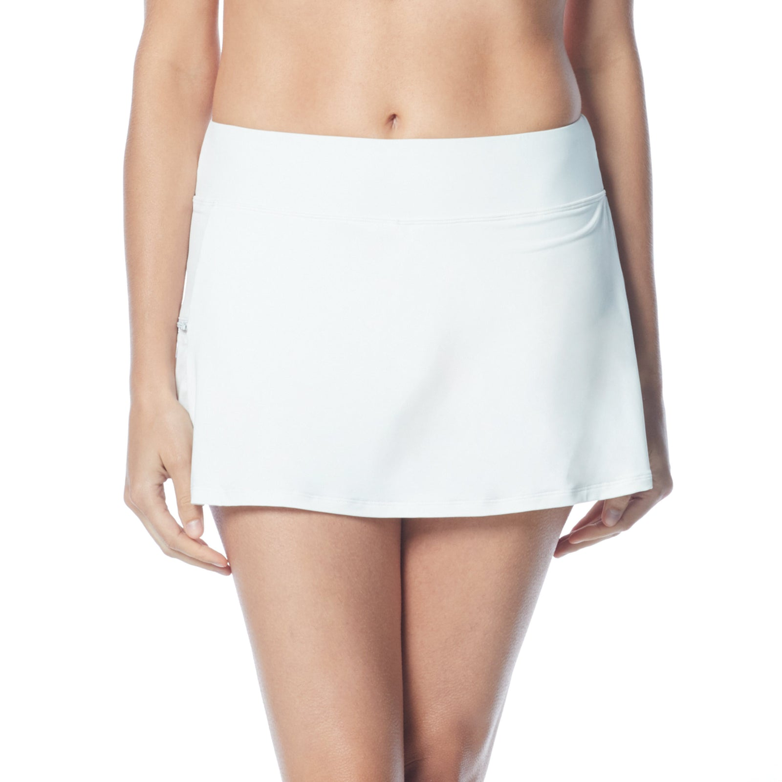Swim Skort Boy Shorts Attached Underneath Full Coverage Zippered Pocke 50+ UPF 4 Way Stretch Soft Touch Comfort Fabric with Lycra® Chlorine Resistant Fabric Content: 85% Nylon/15% Xtra Life Lycra® Hand Wash Cold, Line Dry white