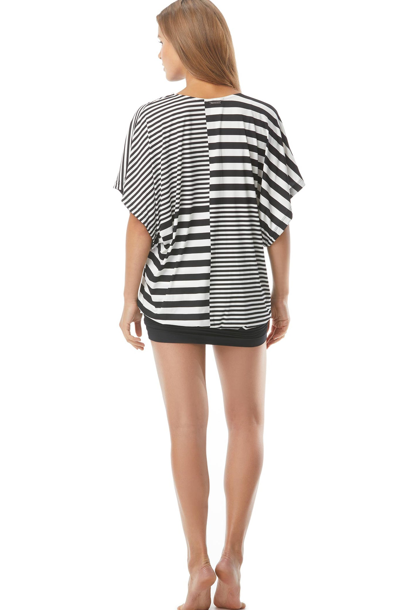 Black and white striped cover up Belted V-Neck Caftan  85% Nylon/15% Spandex