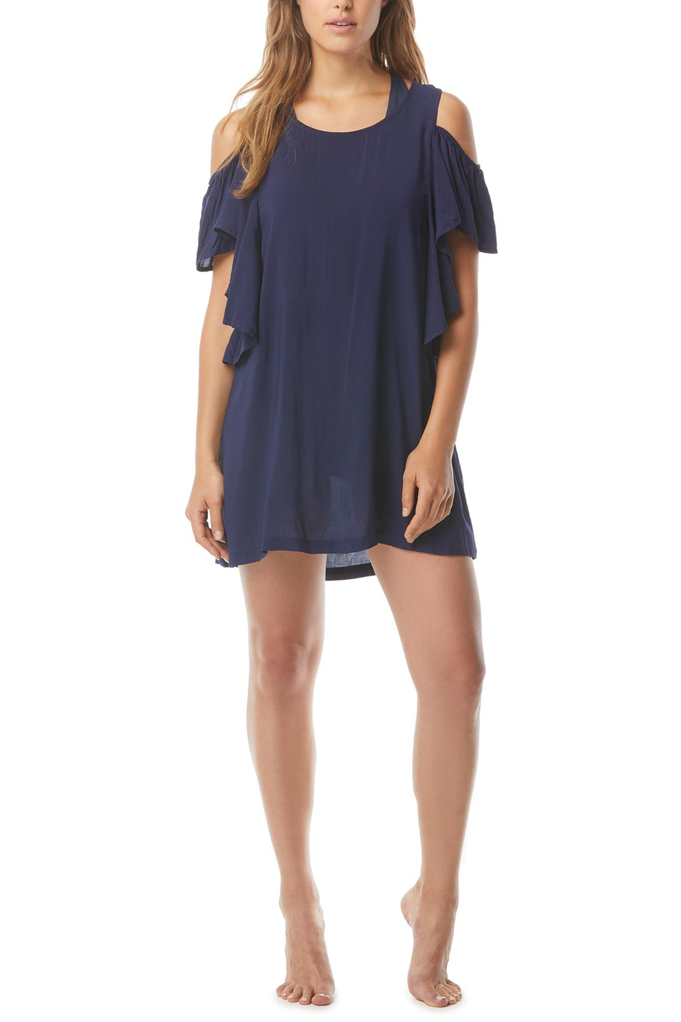 Urban Gypsy cover up  Cold shoulder ruffle Navy blue 100% Rayon