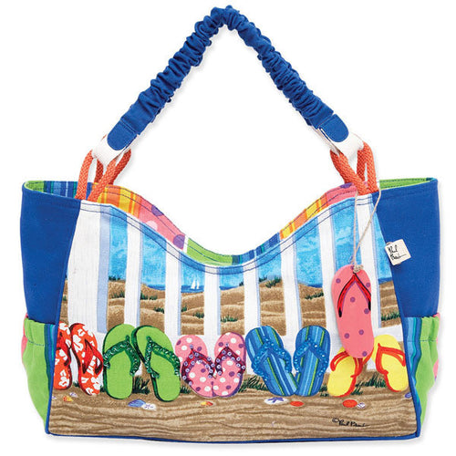 Sun 'N' Sand Flip Flop tote bag Durable rope strap Zipper enclosure