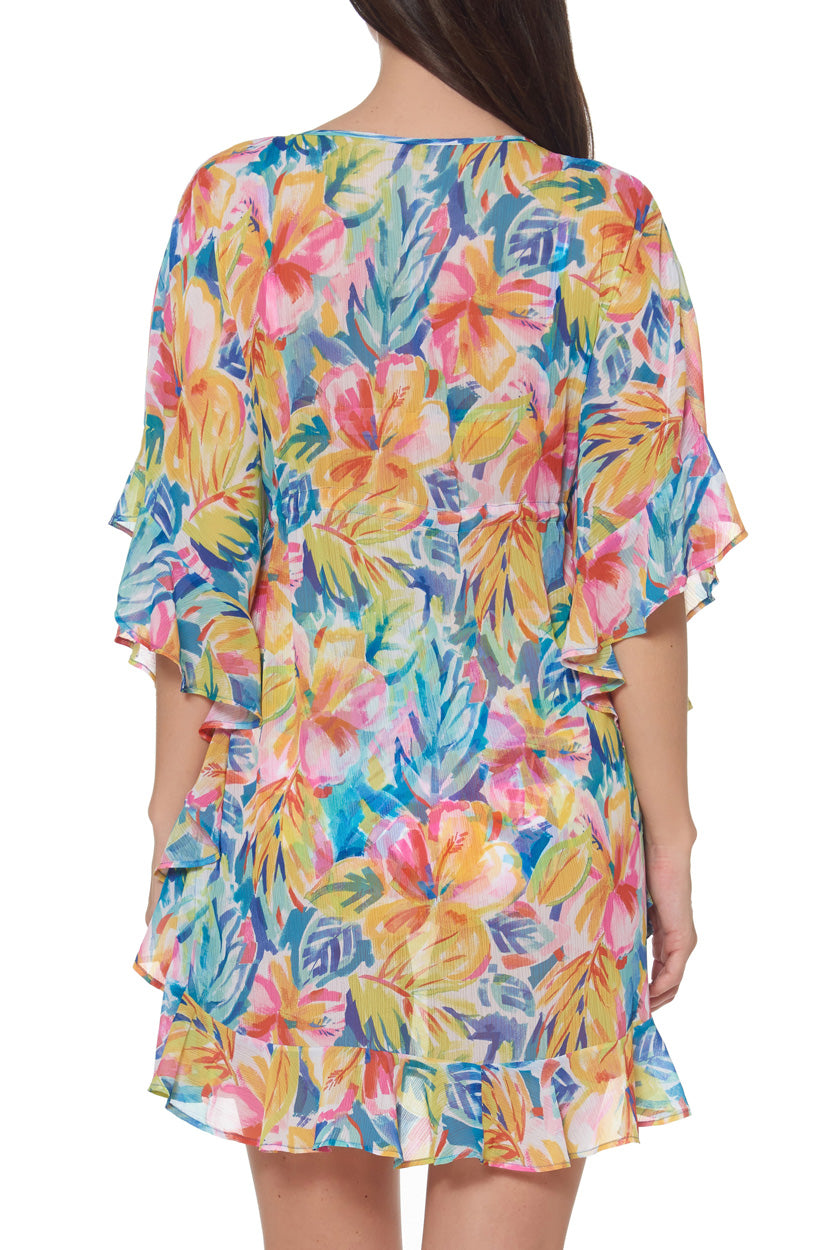 Caftan with Ruffle Short length Pullover styling with tie at waist V-neck Product Number: RBBL19810