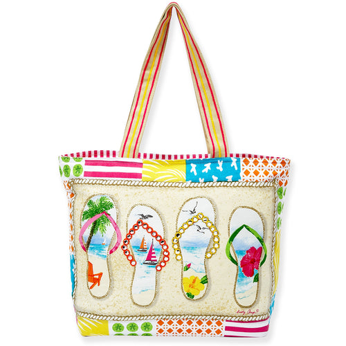 Sun 'N' Sand Flip Flop tote bag Durable rope shoulder strap  Zipper enclosure