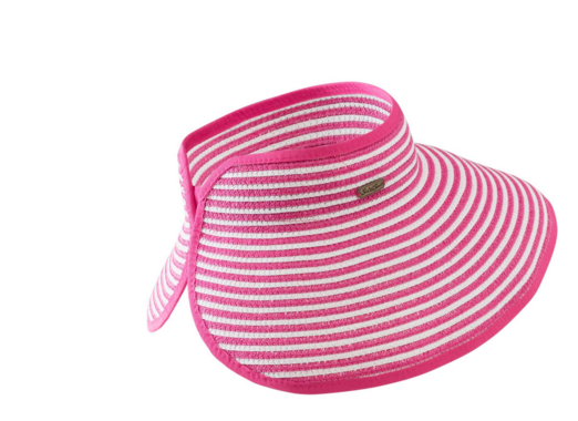 Wide brim for extra sun protection Adjustable to fit most head sizes Open top  Features a roll up function, and foldable for easy storage or travel pink and white