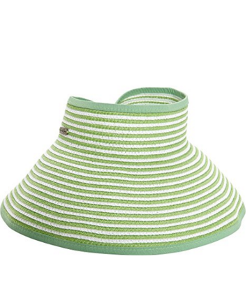 Wide brim for extra sun protection Adjustable to fit most head sizes Open top  Features a roll up function, and foldable for easy storage or travel green and white