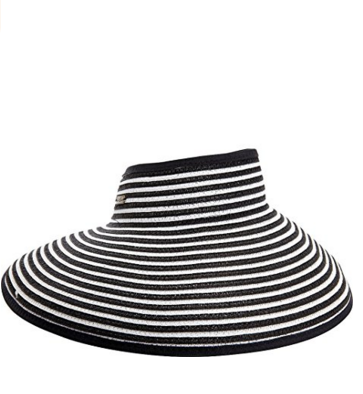 Wide brim for extra sun protection Adjustable to fit most head sizes Open top  Features a roll up function, and foldable for easy storage or travel black and white