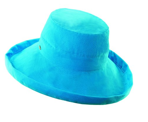 "Packable big brim hat 50+ UPF protection  3"" big brim hat 100% Cotton turquoise"