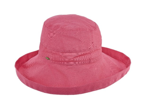 "Packable big brim hat 50+ UPF protection  3"" big brim hat 100% Cotton pink"