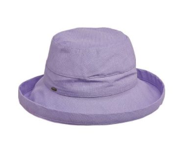 "Packable big brim hat 50+ UPF protection  3"" big brim hat 100% Cotton lavender"